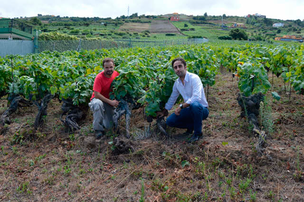 Roberto Santana (i) junto a Jonatan García, propietario de la bodega Suertes del Marques