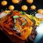Salmón rojo con chiplote y crema de lentejas | Foto: J.L.C.