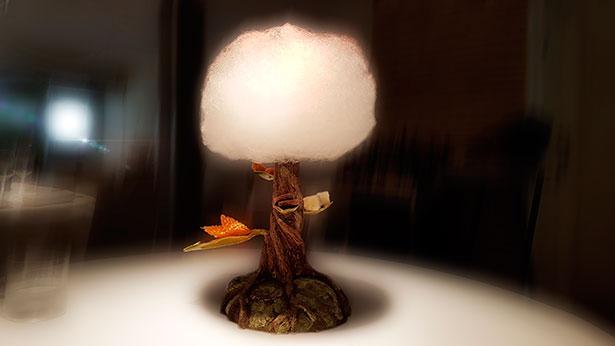 Árbol con petit fours ( galleta de cacao, nube de mandarina y mora, teja de almendra y caramelo blando de manzana) con nube de azúcar, yogur y frambuesa | Foto: J.L.C.