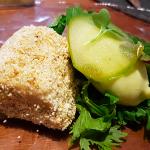 Terrina de foie, palomitas y sorbete de manzana verde | Foto: J.L.C.