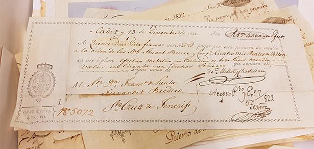 Carta de pago del comercio de vino en Tenerife de 1821 | Foto: J.L.C.