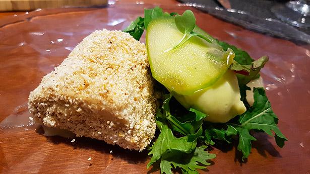 Terrina de foie, palomitas y sorbete de manzana verde, de Seve Díaz. El Taller de Seve Díaz | Foto: J.L.C.