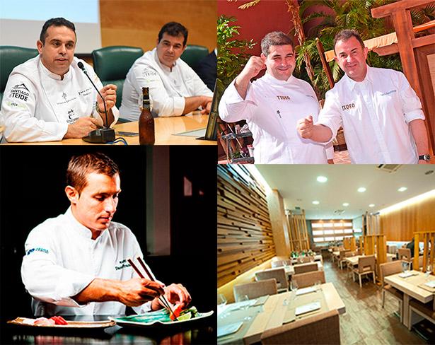 Los hermanos Padrón, Erlantz Gorostiza y Matín Berasategui, Saniel Franco y el comedor del restaurante Kazán, todos con estrella Michelin