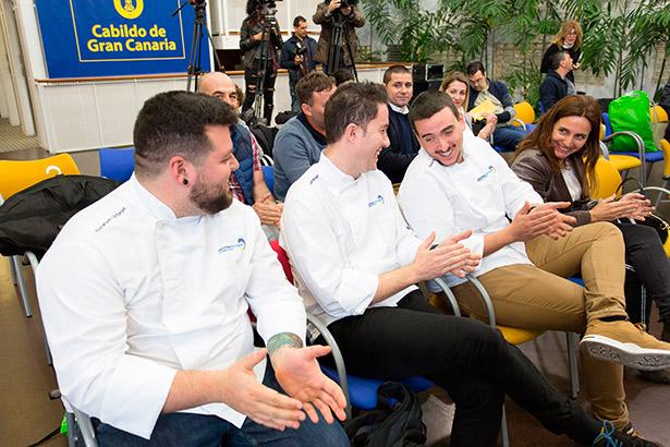 Abraham Ortega, Juan Santiago y Óscar Dayas, tres de los chefs que participarán en Madrid Fusión | Imagen: Cabildo de Gran Canaria