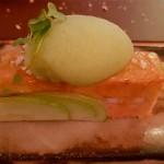 Foie con anguila ahumada y sorbete de manzana | Foto: J.L.C.