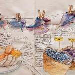 Uno de los dibujos que adornan el restaurante, en este caso con los ingredientes del sancocho | Foto: J.L.C.