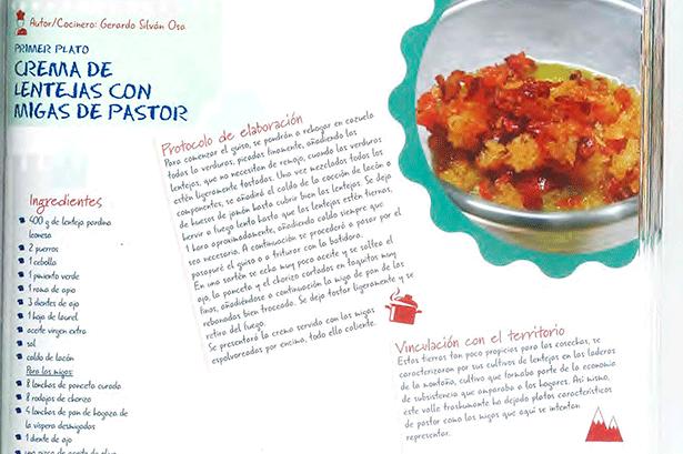 Una de las recetas incluidas: crema de lentejas con migas de pastor