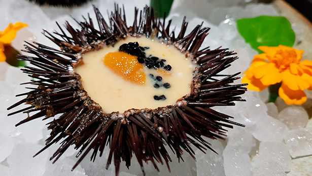 Crema de erizo con caviar Beluga con el singular toque del ron Matusalén 23 años | Foto: J.L.C.