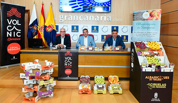 Los consejeros de Agricultura del Gobierno de Canarias, Narvay Quintero, y el de Soberanía Alimentaria del Cabildo, Miguel Hidalgo, y el director comercial de GMR, Aitor Marcos Sánchez