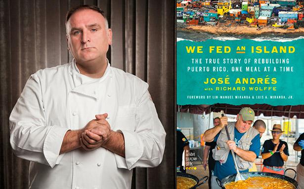 El chef José Andrés, junto a la portada de su libro | Foto: Ryan Forbes