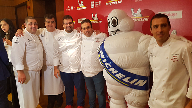 De izquierda a derecha, Erlantz Gorostiza, Toto Regalado, Jonathan y Juan Carlos Padrón y Daniel Franco, los estrellas Michelin de Tenerife | Foto: J. L. Conde