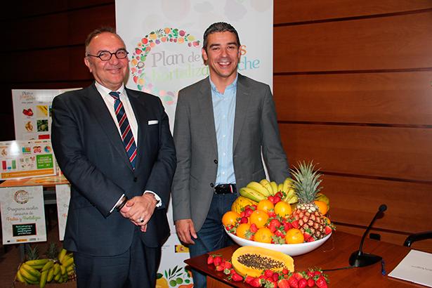 Narvay Quintero y José Manuel Baltar, en la presentación del Plan de Consumo de Frutas y Verduras
