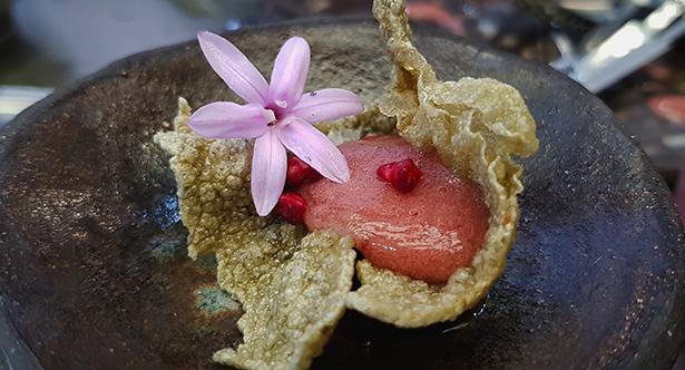 Crujiente de espirulina, crispi de fresa, flor de Tulbaghia y esferificación de fresa de Valsequillo uno de los bocacos de Gran Canaria Me gusta en la feria Gastrocanarias   Foto: J. L. Conde