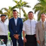 De izquierda a derecha, Luis Martín, cocinero; Lucas Turan, director del espacio Red Level del hotel; el chef Jorge Peñate y Eduardo Rodríguez, jefe de sala del restaurante