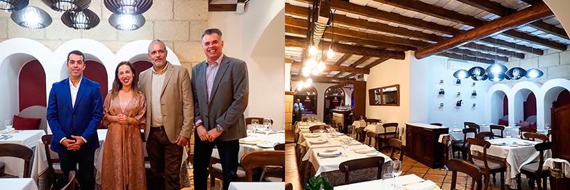 De izquierda a derecha, Florentino Guzmán Plasencia, Patricia Hernández, Bernard Lonis y Carlos Sabina y vista del comedor del restaurante | Foto: Sergio Méndez