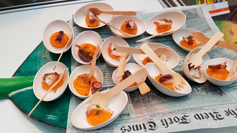 Pulpo y batata, tapas que elaboraron en una anterior edición los cocineros tinerfeños | Foto: José L. Conde