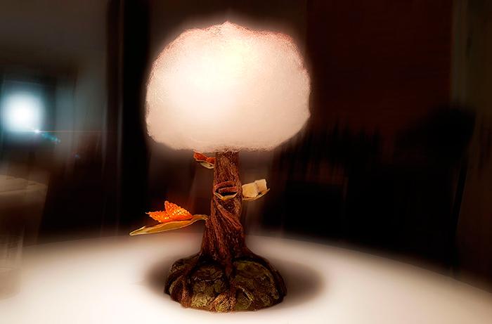 Árbol con petit fours (galleta de cacao, nube de mandarina y mora, teja de almendra y caramelo blando de manzana) con nube de azúcar, yogur y frambuesa de Jonathan Padrón | Foto: José L. Conde