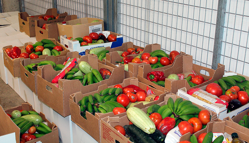 Cajas con alimentos donados por vecinos y agricultores de Tegueste