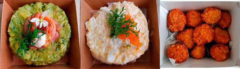 Tartar de aguacate y salmón, ensaladilla de cangrejo real y croquetas de jamón | Foto: José L. Conde