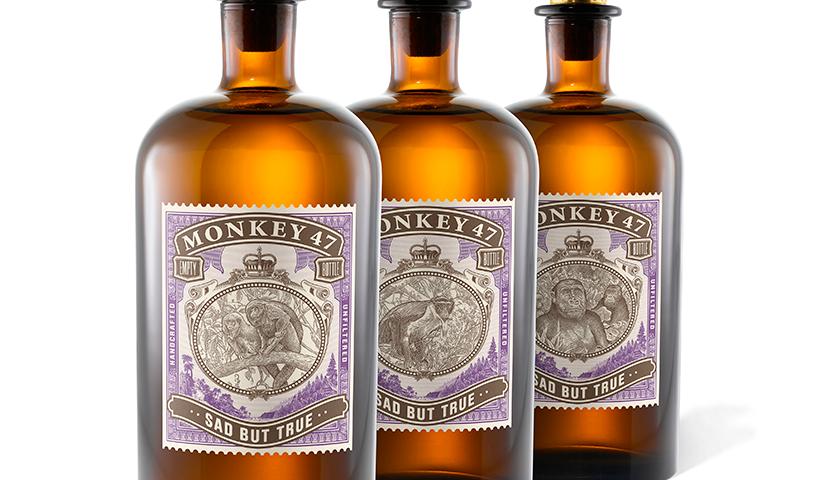 Botellas de la edición especial de la ginebra Monkey 47