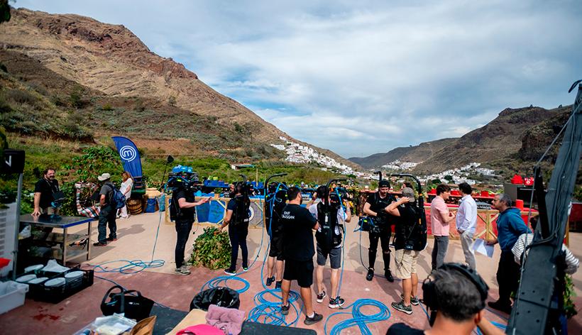 El equipo de MasterChef, durante la grabación en Gran Canaria