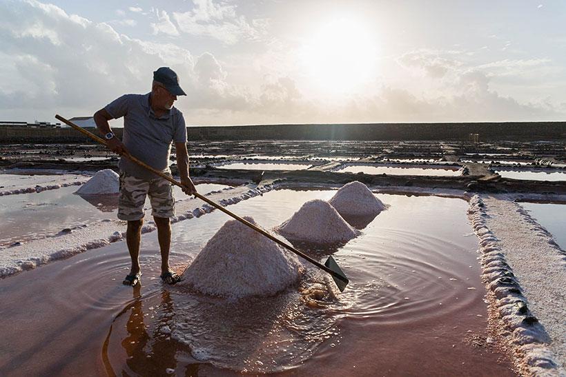 Extracción de sal en las Salinas de Tenefé