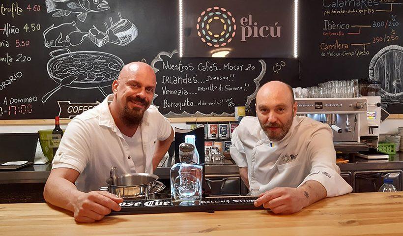 David Amador García y Karmine Parisi, en el restaurante El Picú   Foto: José L. Conde
