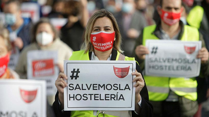 Imagen de la protesta del sector hostelero   rtve.es