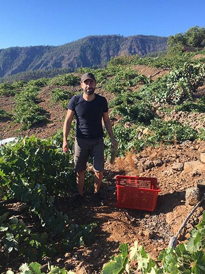 Garrido, en la parcela donde cuida las viñas