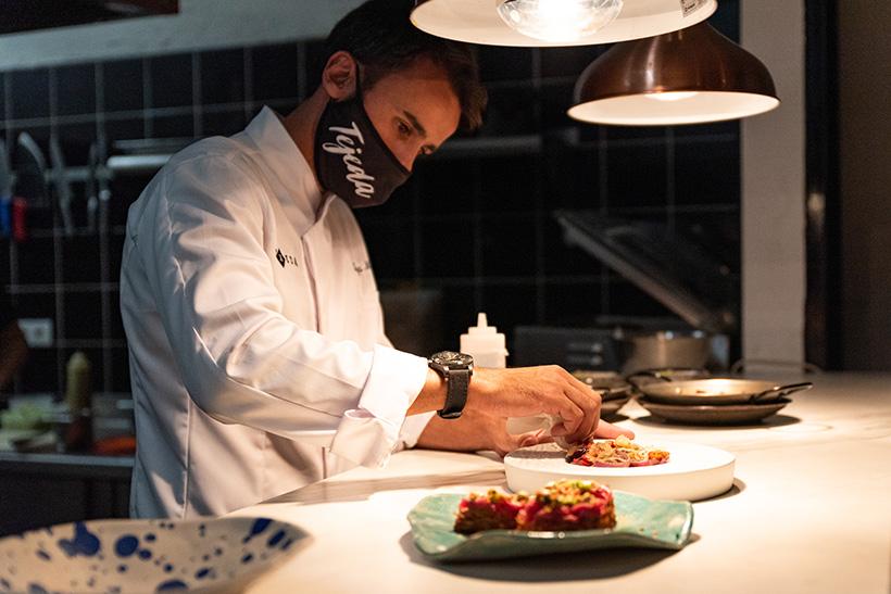 Borja Marrero, en su restaurante Texeda